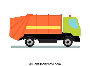 Orange Garbage Truck