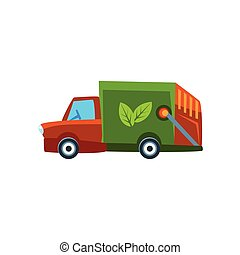 Orange Garbage Truck Toy Cute Car Icon
