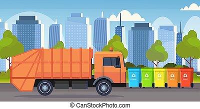 orange garbage truck urban sanitary vehicle loading recycling bins segregate waste sorting management concept modern cityscape background flat horizontal