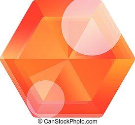 Orange gemstone icon, cartoon style