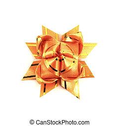 orange gift bow isolated on white background