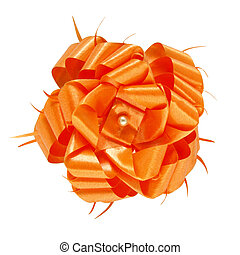 orange gift bow isolated on white background with clipping path