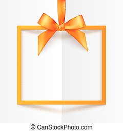 Orange gift box frame with silky bow and ribbon on white folded paper background