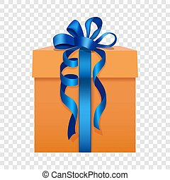 Orange gift box with a blue ribbon icon flat style