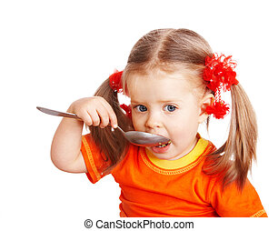 orange, girl, spoon.
