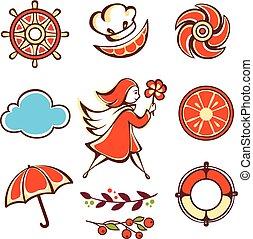 orange, girl, umbrella.
