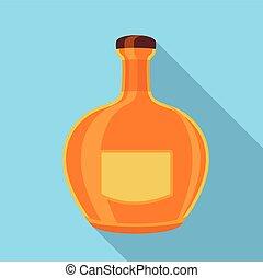 Orange glass bottle icon, flat style