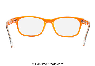 Orange glasses on white background