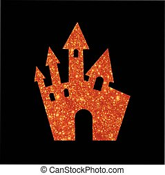 Orange glitter Halloween design element castle building