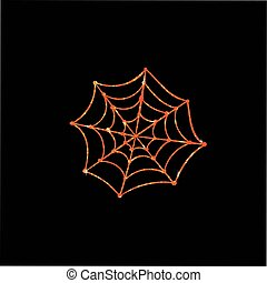 Orange glitter silhouette Halloween holiday spyder web flat...