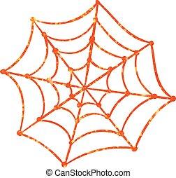 Orange glitter silhouette Halloween holiday spyder web flat...