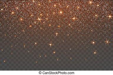 Orange glitter sparkle on a transparent background. Vibrant...