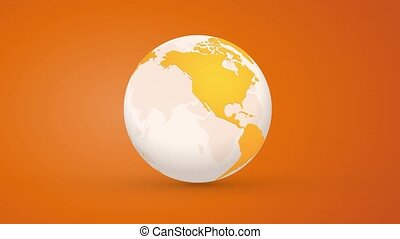 orange globe planet earth rotating endless loop