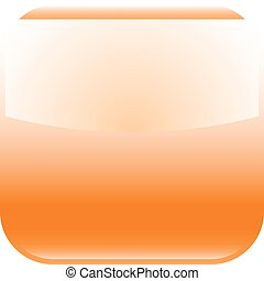 Orange glossy button blank icon square empty shape