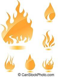 Orange glossy fire