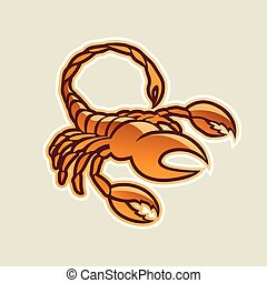 Orange Glossy Scorpion Icon Vector Illustration