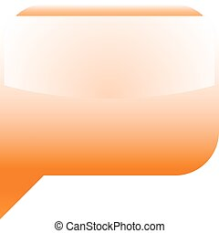 Orange glossy speech bubble blank location icon