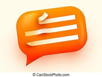 Orange glossy speech bubble illustration. Social network communication concept.