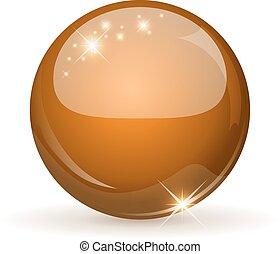 Orange glossy sphere isolated on white.