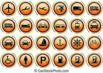 Orange glossy transport vector icon set, airplane, train and other vehicles signs collection.