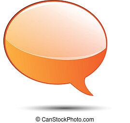 Orange glossy word speech