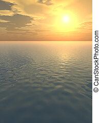 Orange Glow over Calm Sea