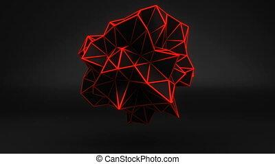Orange glow polygonal 3D shape on black. Loop
