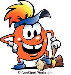 Orange Gobling with a big hammer - Hand-drawn Vector...