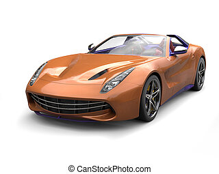 Orange gold modern sports car with purple details and interior
