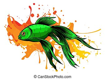 Orange Goldfish with bobbles of air vector illustration - ...