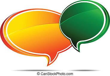 orange, grün, blasen, vortrag halten