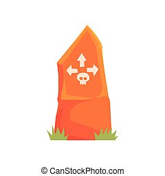 orange, grabstein, mit, totenschädel, und, pfeile, vektor, abbildung