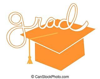 Orange Grad Cap
