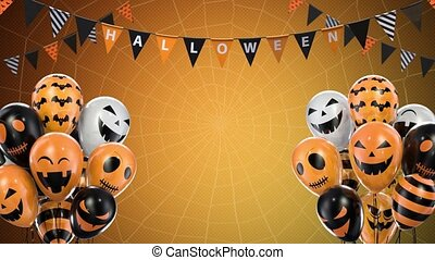 Orange gradient background of halloween balloons hanging ...
