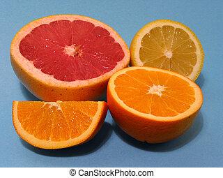 Orange, grapefruit, lemon
