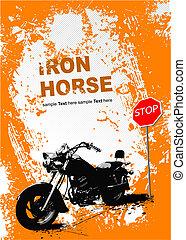 orange, grauer hintergrund, mit, motorrad, image., vektor,...