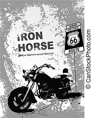 Gray background with motorcycle image. Vector illustration