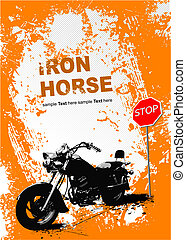 Orange gray background with motorcycle image. Vector...