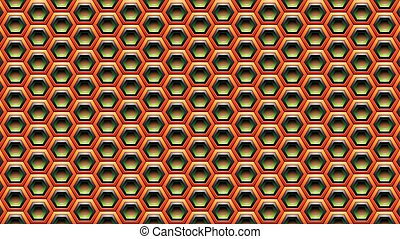 Orange Green and Black Embossed Hexagon Background Vector Illustration