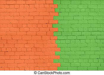 Orange-Green Brick Wall