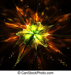 Orange, green, yellow fractal flower, digital artwork, illustration