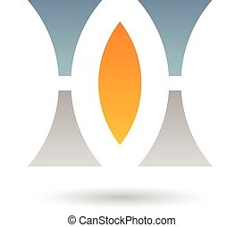 Orange, Grey and Blue Abstract Icon