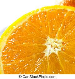 orange, gros plan, blanc, isolé, fond