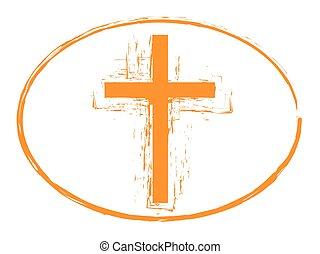 Orange grunge cross stamp symbol