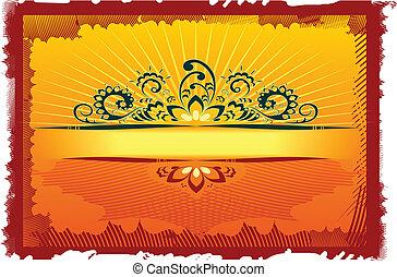Orange Grunge Floral Design vector