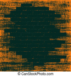 Orange grungy abstract background with black bricks inside.