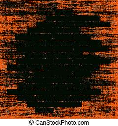 Orange grungy abstract background with black bricks shape inside. Digitally generated image.