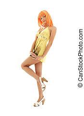 orange hår, flicka, in, gul klä