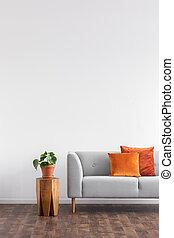 orange, hölzern, nächste, kissen, pflanze, foto, wohnung, tisch, sofa, interior., echte , grau