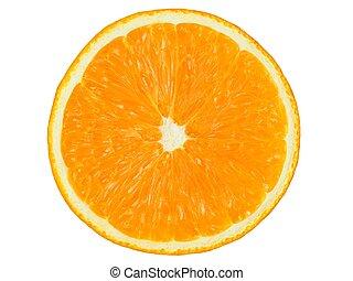 Orange half on white